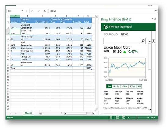Bing Finance for Office