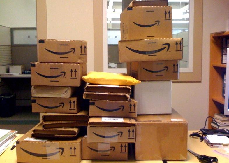Amazon fulfillment services use the company's familiar, smiley boxes