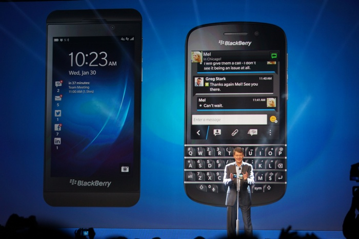 BlackBerry CEO Thorsten Heins shows off the Z10 and Q10 BlackBerry 10 phones.