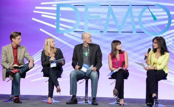 several women and two men onstage at DEMO Fall 2012