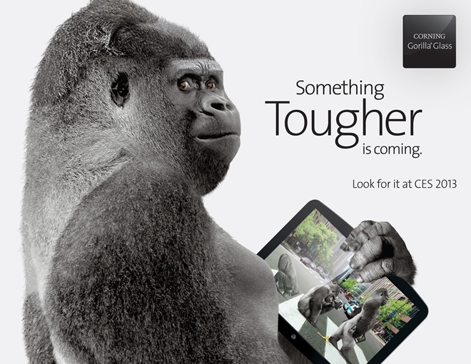 Corning's press image features a gorilla and a tablet