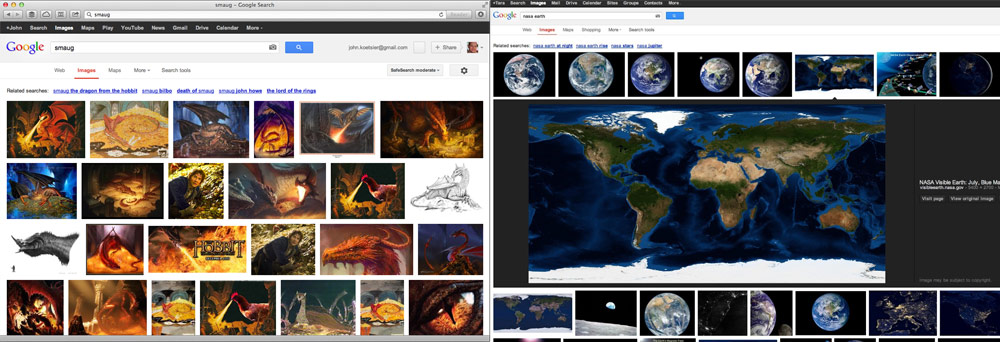 Google image search, old and new