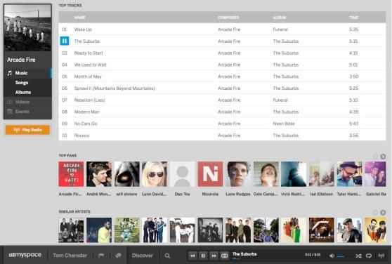 Myspace Artist Page screenshot