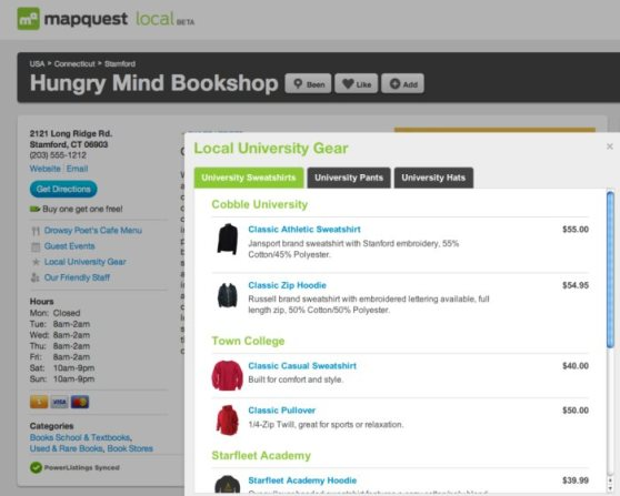 PowerListings+ Product List on Mapquest