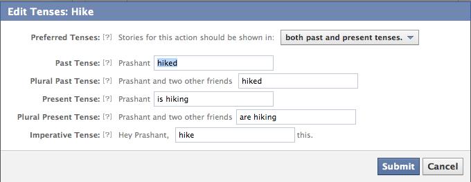 tenses facebook