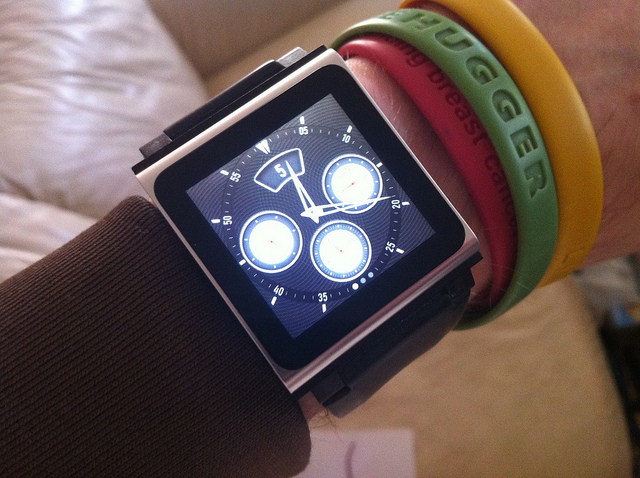 """The current """"Apple smart watch:"""" An iPod Nano connected to a wristband."""