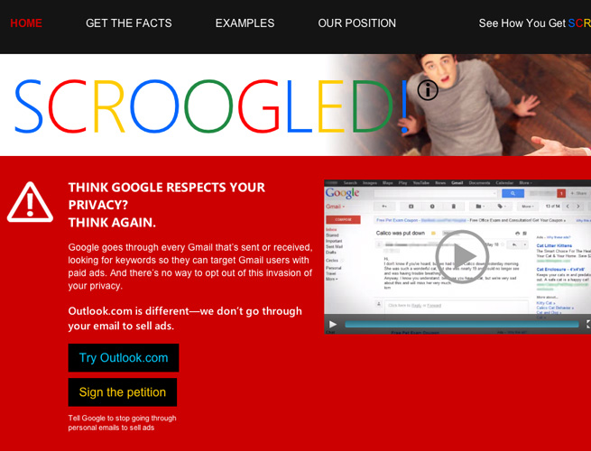 Microsoft claims Gmail is invading your privacy, makes plea to use