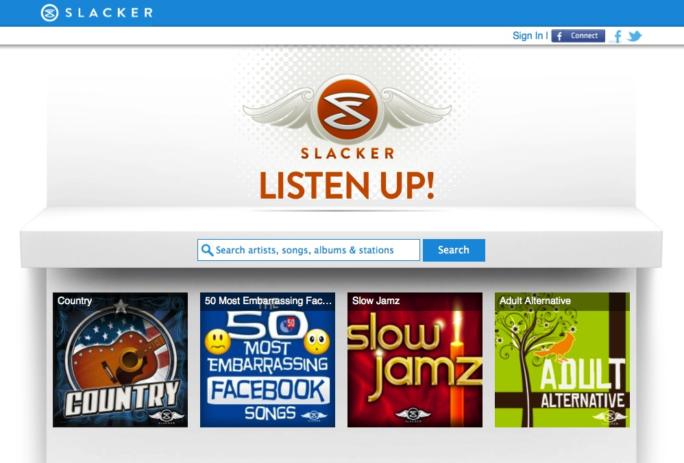 Slacker Radio redesign