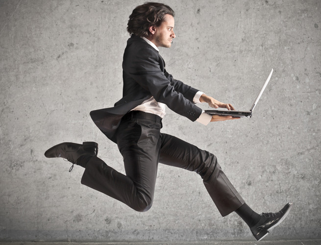 businessman leaping