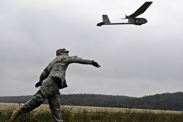 Soldier launching a UAV