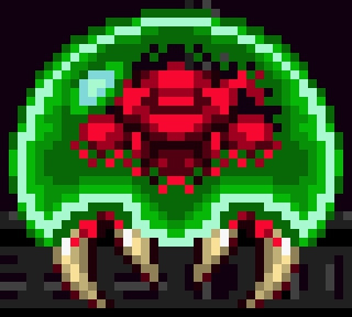 A metroid, as seen in SNES game Super Metroid