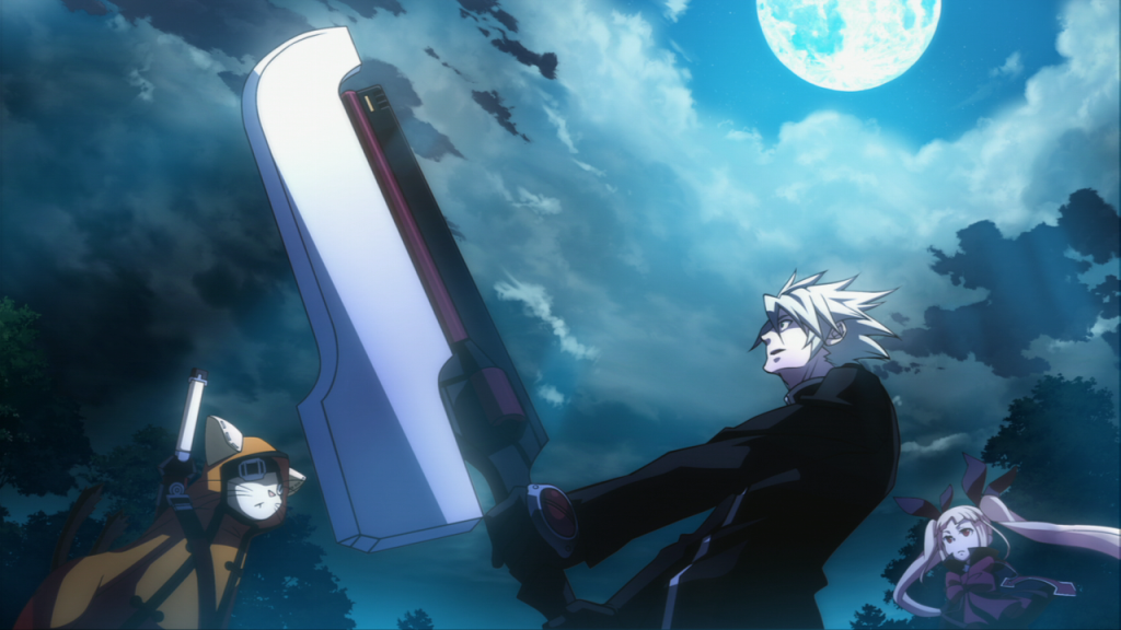 Ragna holds up his sword in Blazblue: Continuum Shift