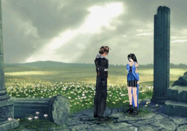 Squall and Rinoa make a promise at a flower field