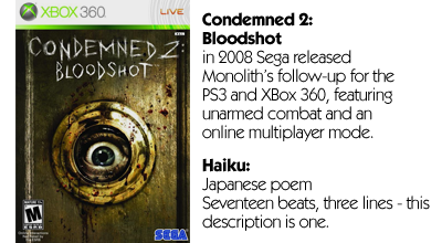 Haiku Review - Condemned 2: Bloodshot