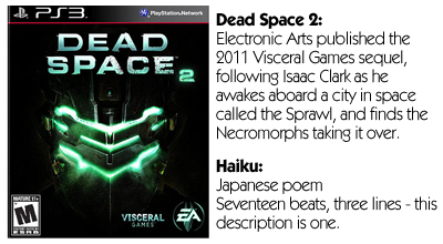 Haiku Review - Dead Space 2 (PS3)