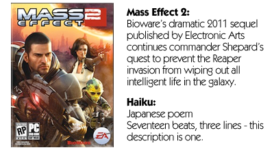 Haiku Review - Mass Effect 2 (PC)
