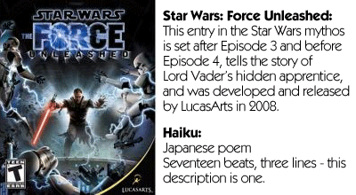 Haiku Review - Star Wars Force Unleashed Teaser