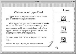 Home screen from Apple's HyperCard software tool