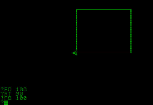 Drawing of a rectangle made with the Logo computer program
