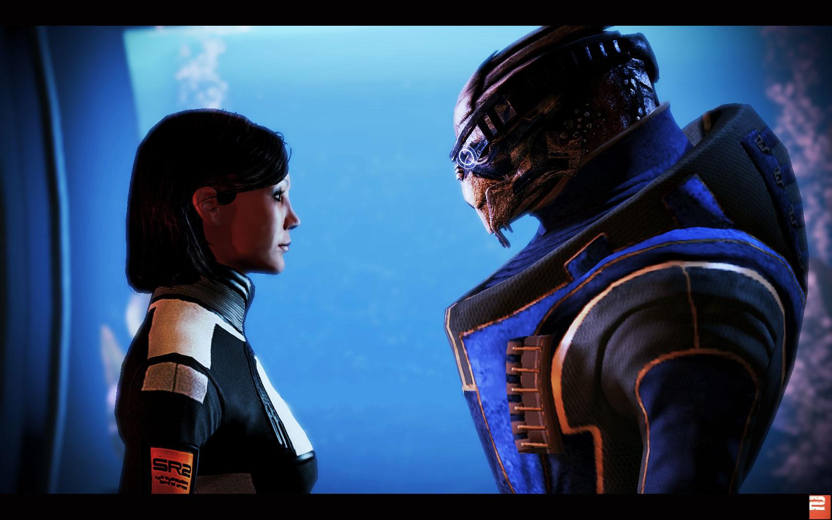 Femshep romancing Garrus in Mass Effect 2