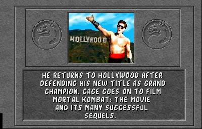 Johnny Cage wins Mortal Kombat and produces the Mortal Kombat films