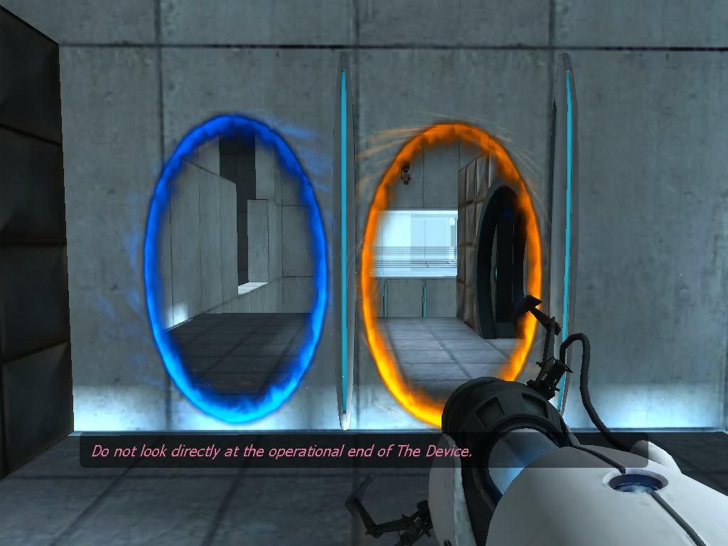 portal gun blue orange test glados