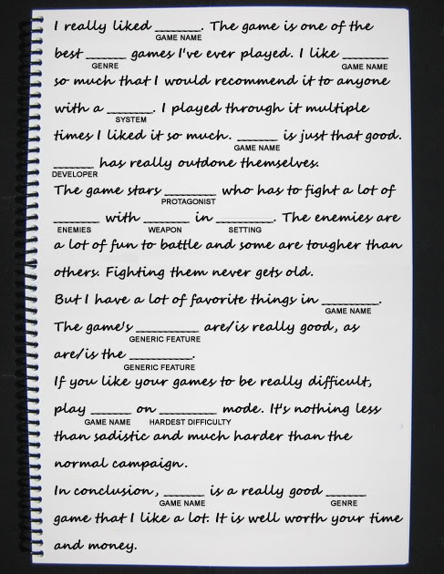 How to write a game review mad libs style venturebeat review mad lib spiritdancerdesigns Image collections