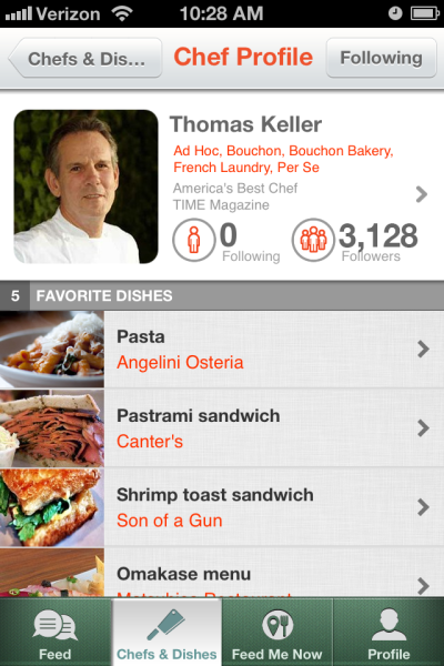Sample Chef Profile Screen