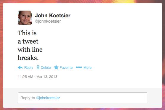 A tweet with line breaks
