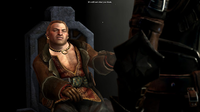 Varric being questioned by the Seeker in Dragon Age 2