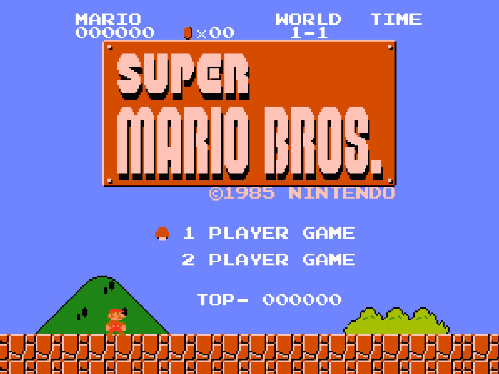 Title screen of Super Mario Bros.