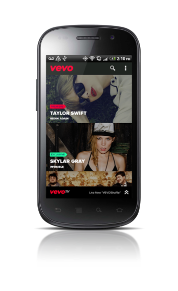 Vevo TV on an Android phone