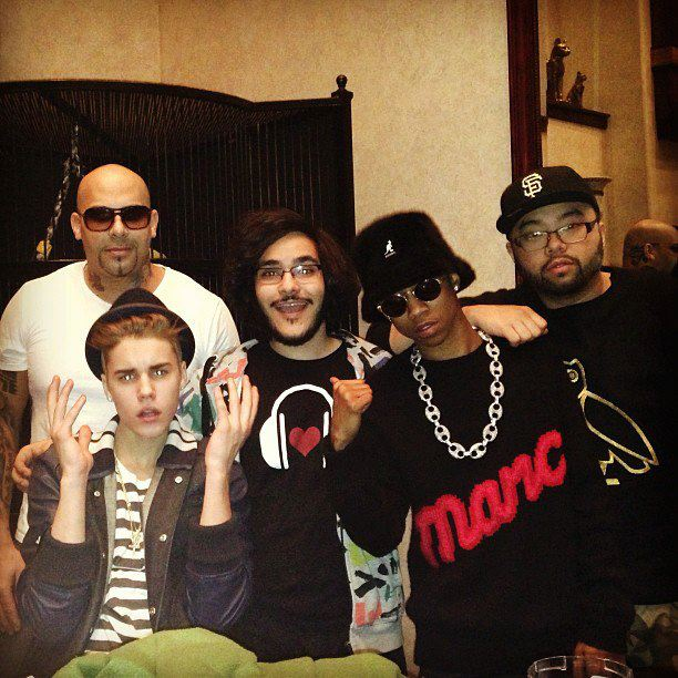 Hipset cofounder Mazy Kazerooni with Justin Bieber and Lil Twist.