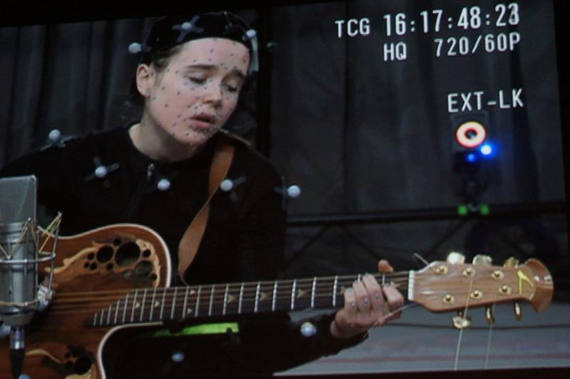 Ellen Page in mocap outfit.