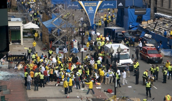 Photo of Boston Marathon with first responders after the explosions