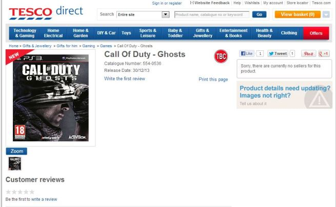 U.K. retailer Tesco pulls listing for Call of Duty: Ghosts ...
