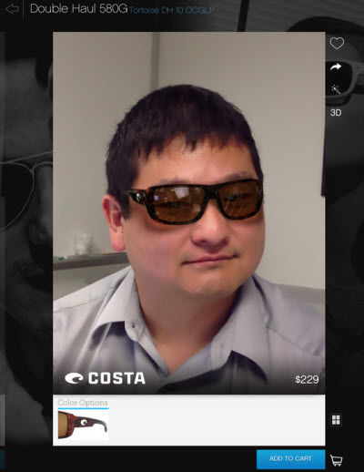 "f86cdbb6ff Dean Takahashi with Glasses.com app ""We try ..."