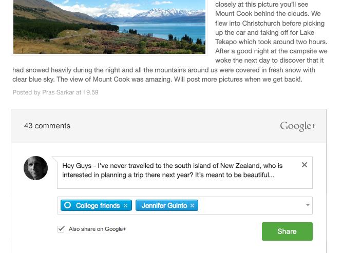 Google+ Blogger comments