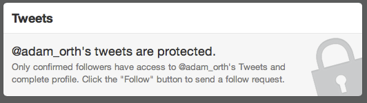 Twitter protected account