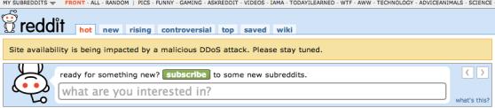 Reddit outage DDOS