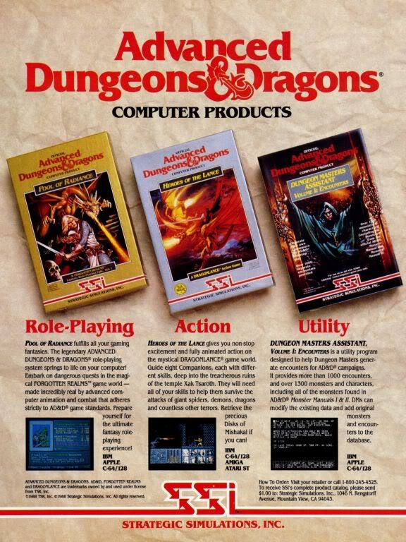 SSI's AD&D game ad