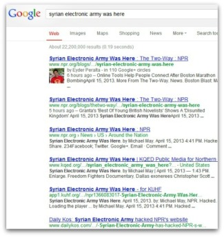 syrian electronic army defacement google results