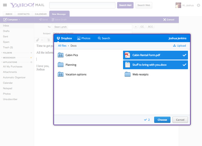 Share files of any size with the dropbox add-in for microsoft.