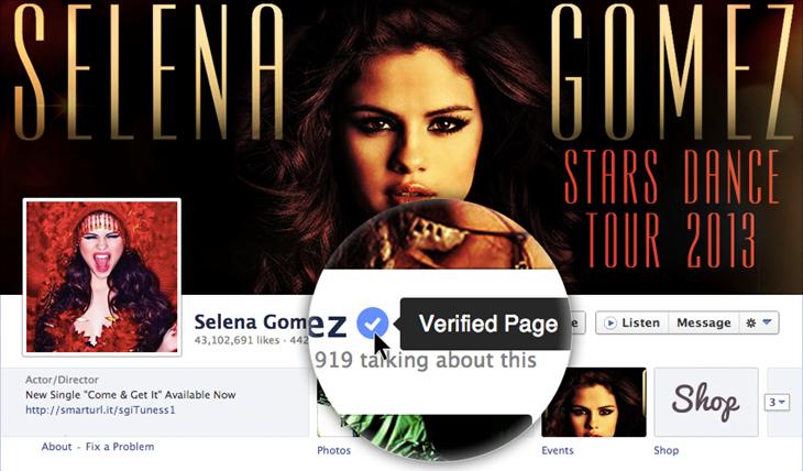 Facebook verified profiles