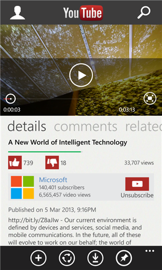 The YouTube app, by Microsoft