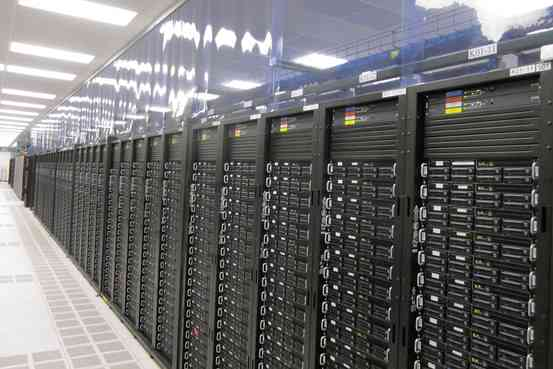 Photo of a rack of servers inside a data center