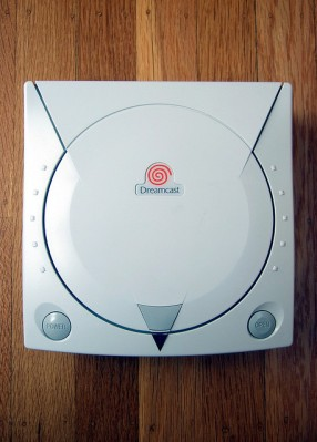 Dreamcast on wood background