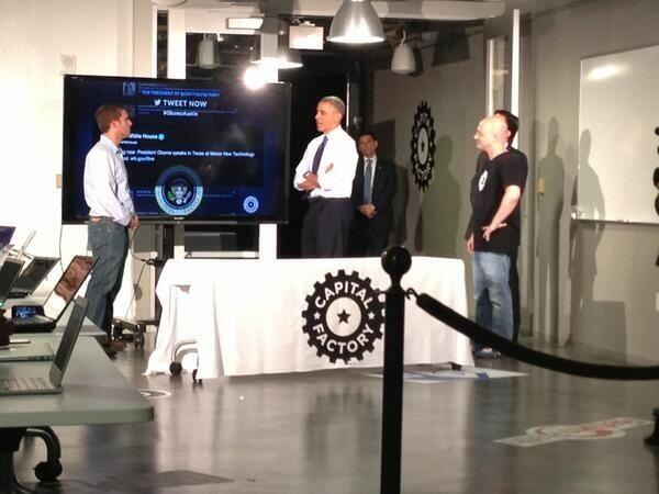 Mass Relevance CTO Eric Falcao presenting to President Obama during his recent trip to Austin.