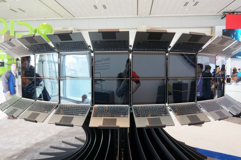 An art installation feature Chromebook Pixels at the 2013 Google I/O conference.