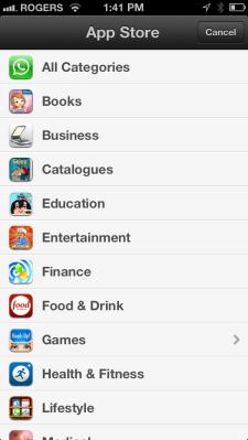 App store categories - iOS